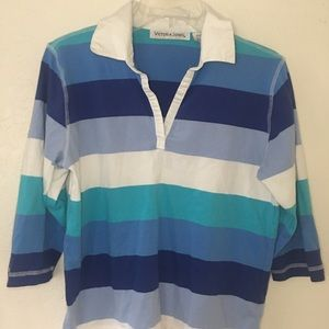 Vintage Striped 3/4 Sleeve Collared Polo Top
